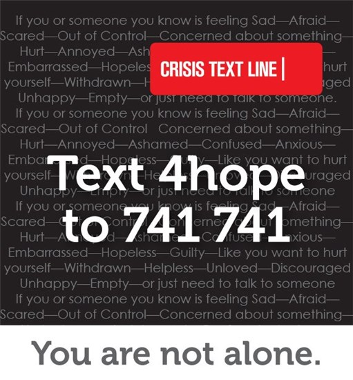 Crisis Text Line Graphic - Text 4hope to 741 741